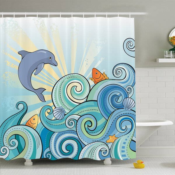 Sea Animals Cartoon Dolphin Fish Starfish Shells Lights in Ocean Marine in Summer Pattern Shower Curtain Set by Ambesonne