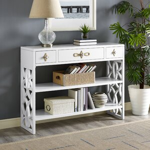 Partin Modern White Three Drawer with Contrasting Overlays Console Table b..