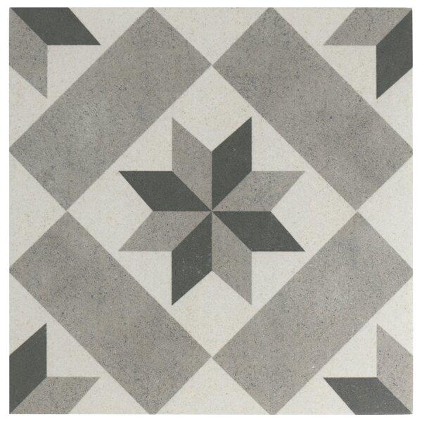 Annata Star 9.75 x 9.75 Porcelain Field Tile in Gray by EliteTile