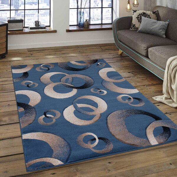 Circles Blue Area Rug by AllStar Rugs