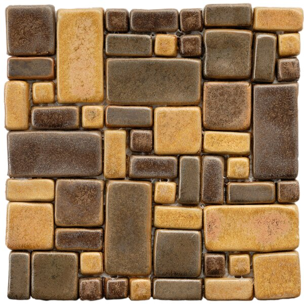 Heritage Random Sized Ceramic Mosaic Tile in Brown/Gold by EliteTile