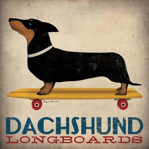 'Dachshund Longboards' Vintage Advertisement on Wrapped Canvas by Winston Porter
