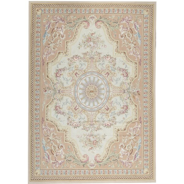 One-of-a-Kind Aubusson Renaissance Hand-Knotted Beige 10' x 14'2 Wool Area Rug