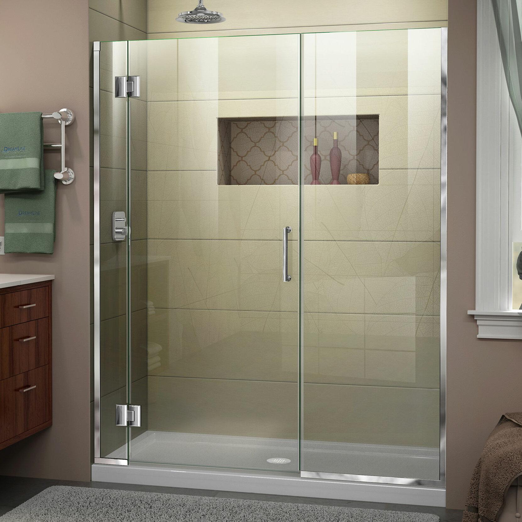 Unidoor X 62 1 2 63 In W X 72 In H Frameless Hinged Shower Door