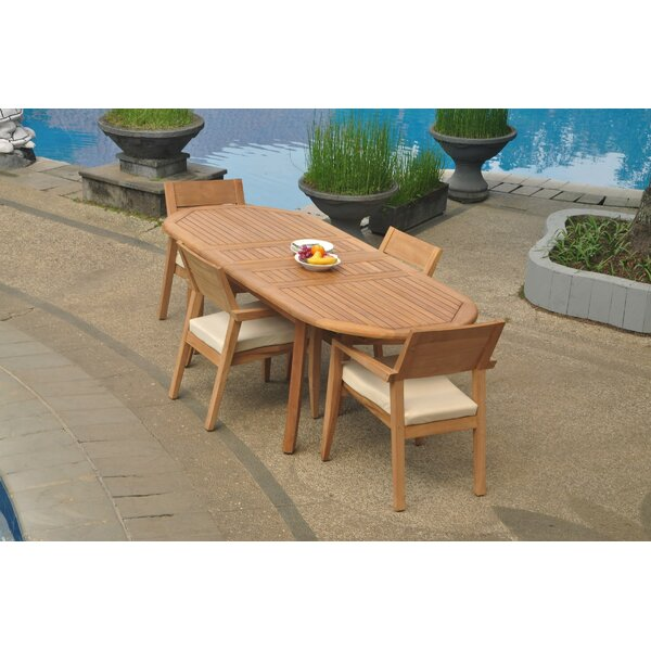Entrada 5 Piece Teak Dining Set by Rosecliff Heights