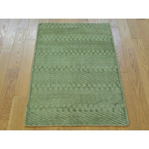 One-of-a-Kind Bean Light Art Handwoven Green Silk Area Rug by Isabelline