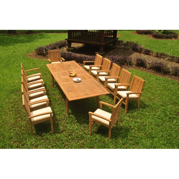 Jovanny 13 Piece Teak Dining Set by Rosecliff Heights