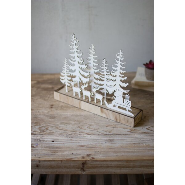 Wooden Silhouette Santa Deer and Trees by The Holiday Aisle