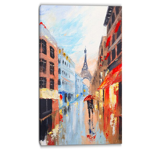 Couple Walking in Paris Romance Painting Print on Wrapped Canvas by Design Art