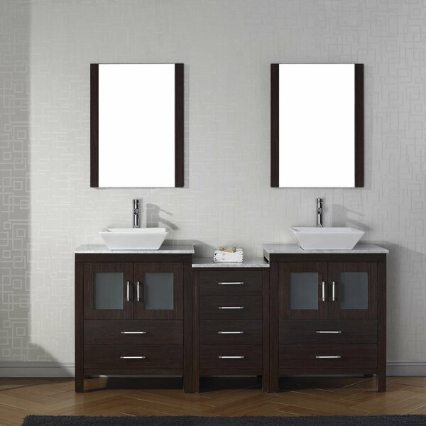 Stanardsville 67 Double Bathroom Vanity Set with White Marble Top and Mirror