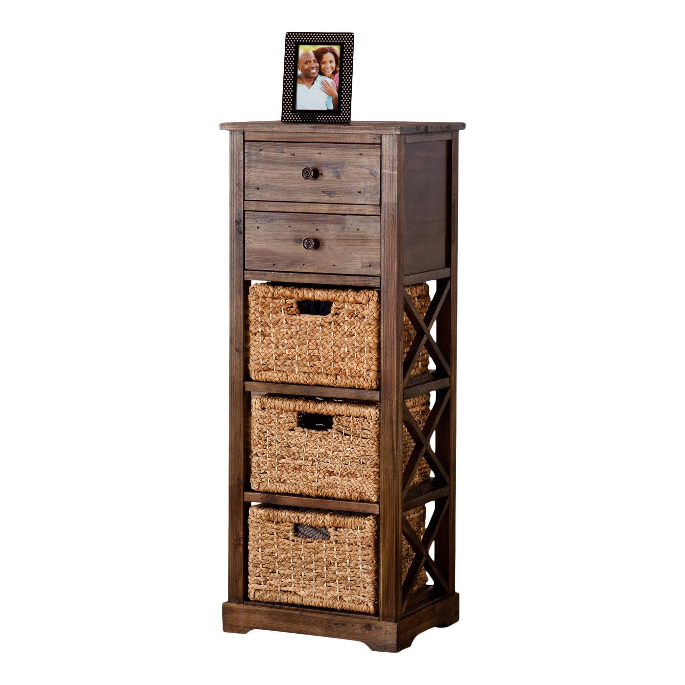 Bay Isle Home Stimson 2 Drawer Storage Chest 3 Basket Storage Tower U0026  Reviews | Wayfair