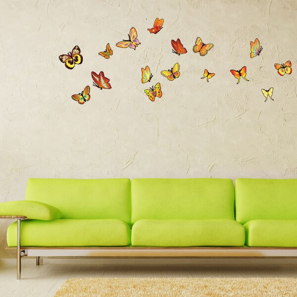 Orange Butterfly Wall Decal by Style and Apply