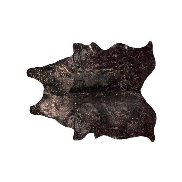 Houchin Cowhide Black/Copper Area Rug by Brayden Studio