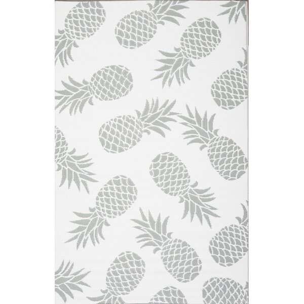 Pritchard Pineapple Gray Indoor/Outdoor Area Rug by Bay Isle Home