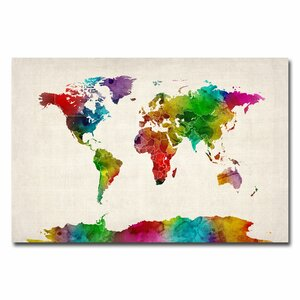 'Watercolor World Map II' by Michael Tompsett Graphic Art on Canvas by Trademark Fine Art