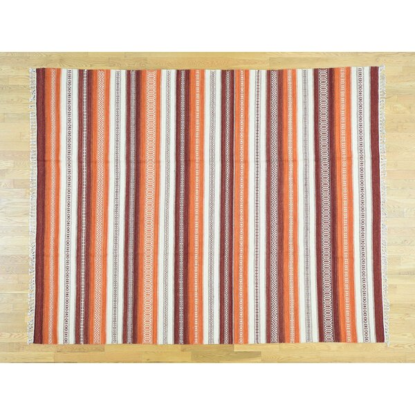 One-of-a-Kind Beech Hill Striped Handmade Kilim Wool Area Rug by Isabelline