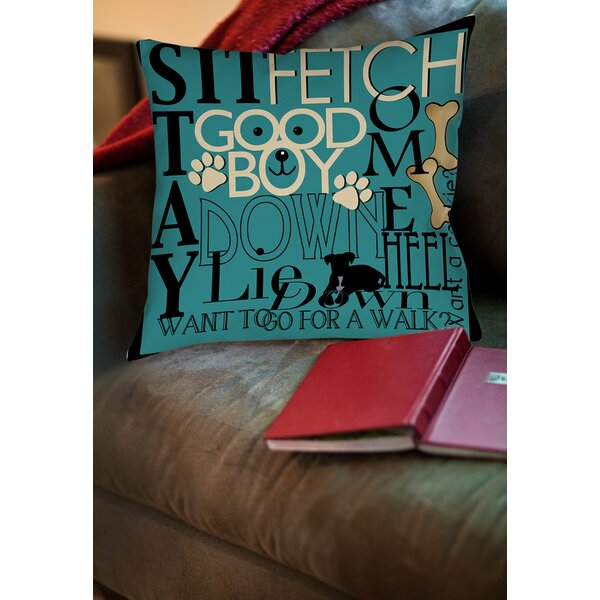 Dog Commands Printed Throw Pillow by Manual Woodworkers & Weavers