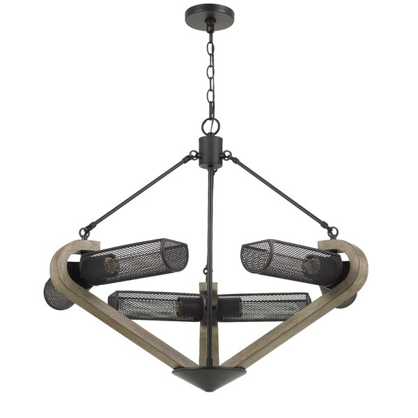 Nneka 6 - Light Unique / Statement Sphere Chandelier With Wood Accents By Gracie Oaks