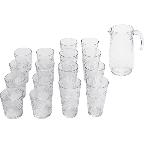 17 Piece Beverage Serving Set By Circle Glass.