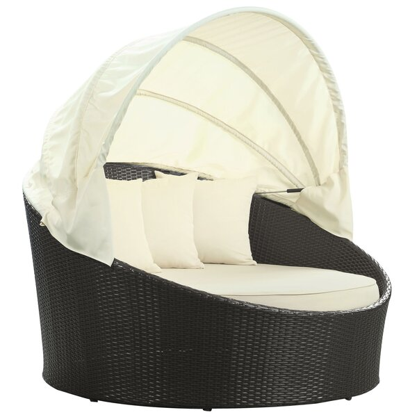 Espresso Siesta Canopy Daybed With White Cushions By Modway