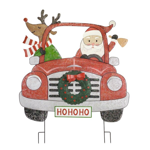 Santa and Deer in Car Garden Stake by The Holiday Aisle
