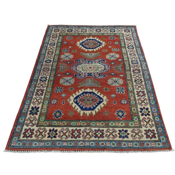 One-of-a-Kind Tillotson Hand-Knotted Red/Ivory Area Rug by Millwood Pines