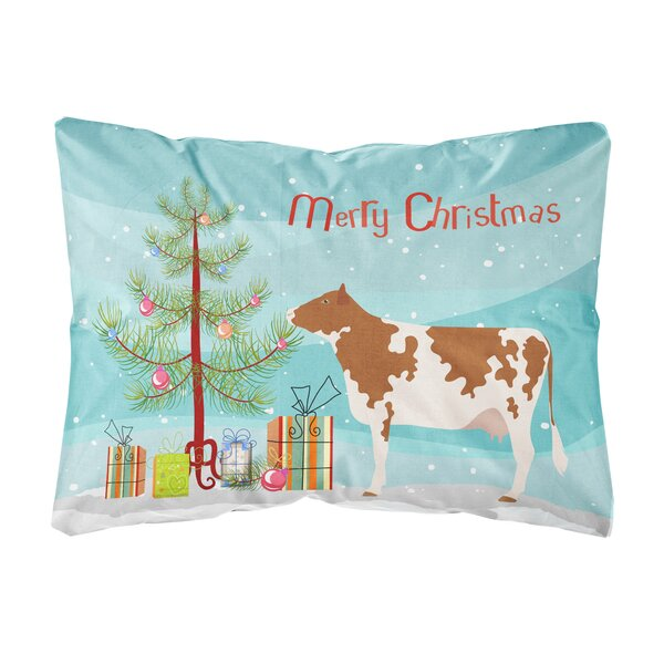 Hobart Ayrshire Cow Christmas Fabric Indoor/Outdoor Throw Pillow by The Holiday Aisle
