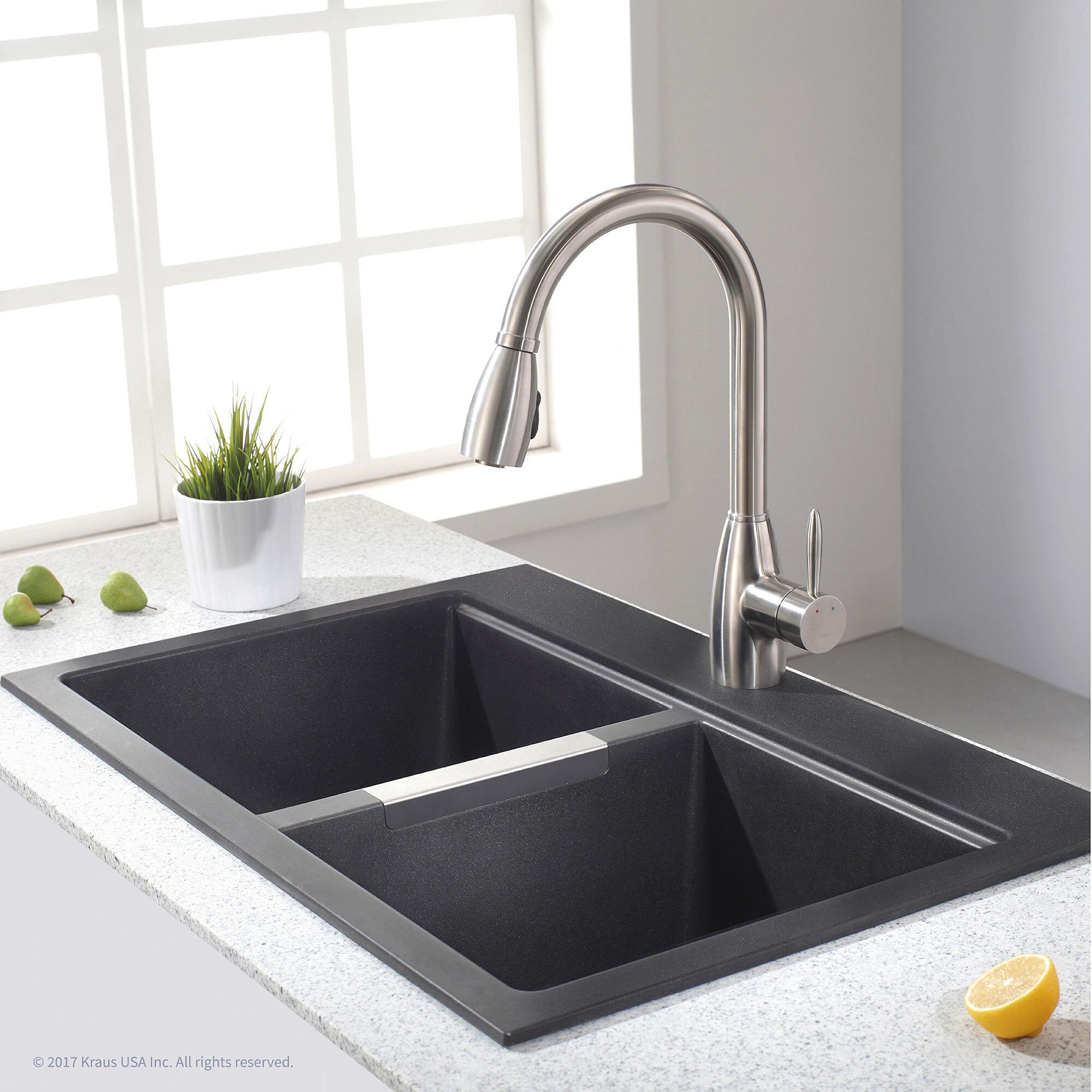 Kraus granite 33 l x 22 w double basin dual mount kitchen sink reviews wayfair ca