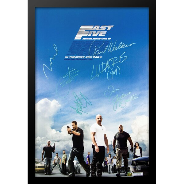 Fast and Furious Framed Autographed Movie Poster Framed Wall Art by LuxeWest