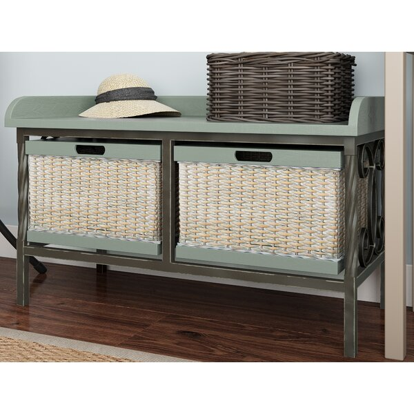 Lindy Wooden Storage Bench by Highland Dunes