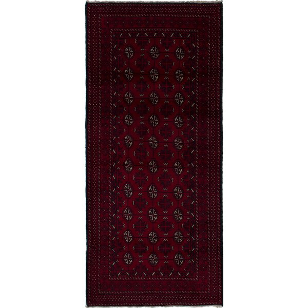 One-of-a-Kind Alarik Hand-Knotted Wool Dark Red Area Rug by Isabelline