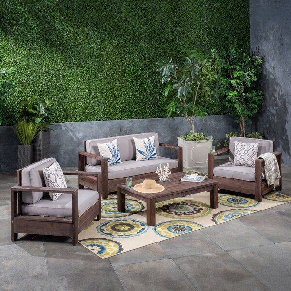 Landis 4 Piece Sofa Seating Group with Cushions by Rosecliff Heights