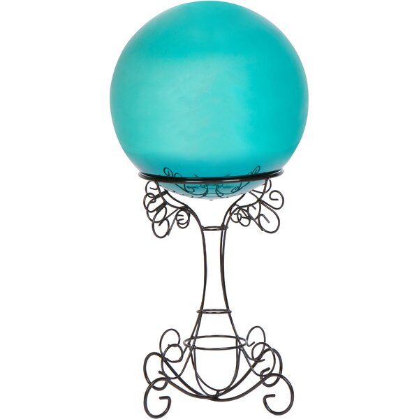 Gazing Ball and Stand with Scroll Design by Trademark Innovations