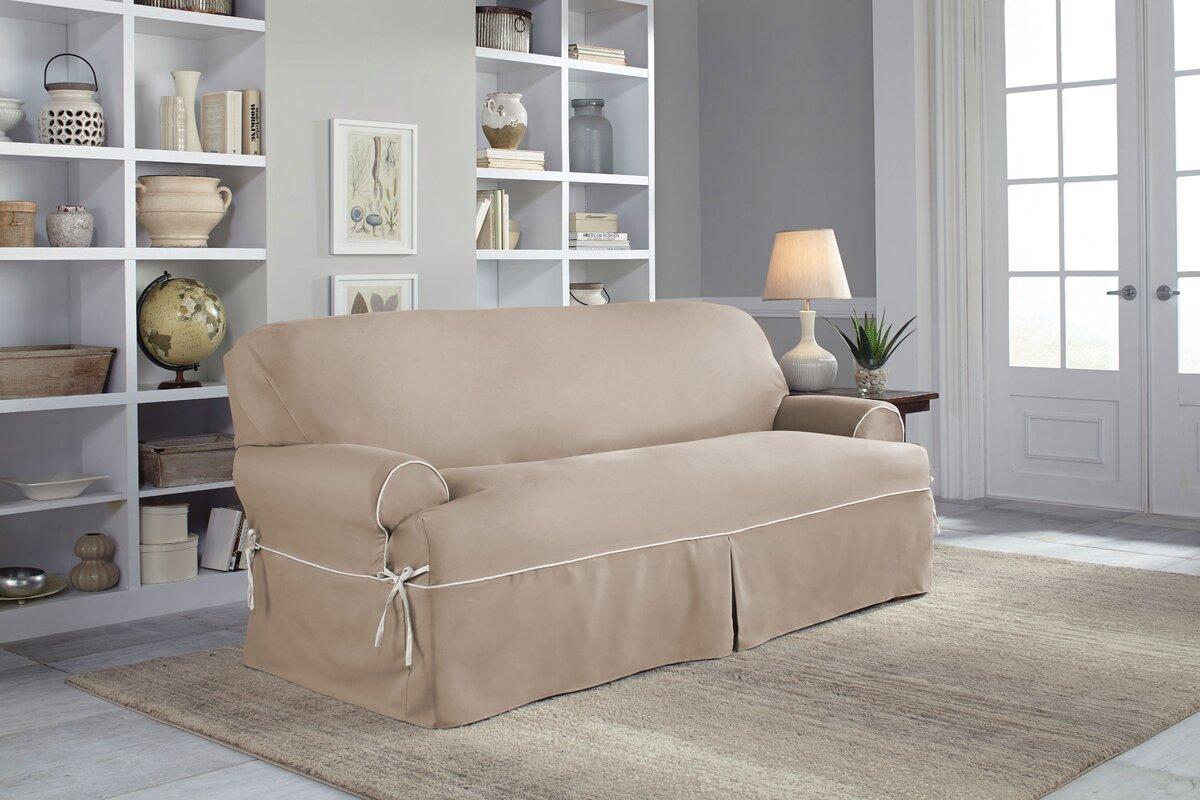 Twill T Cushion Sofa Slipcover