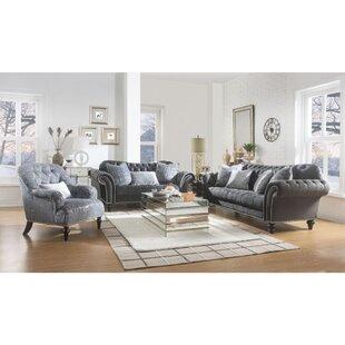 Putney 3 Piece Velvet Living Room Set by Rosdorf Park