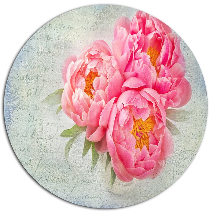 Designart Pink Peony Flowers In White Vase Oil Painting Print On