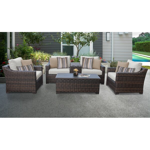 River Brook 6 Piece Outdoor Rattan Sofa Seating Group with Cushions by kathy ireland Homes & Gardens by TK Classics