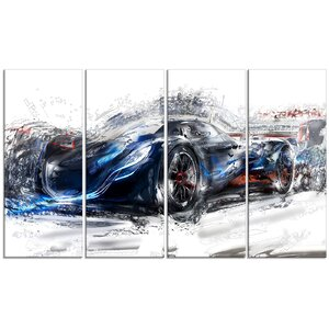 Speedster Car 4 Piece Graphic Art on Wrapped Canvas Set in Black by Design Art
