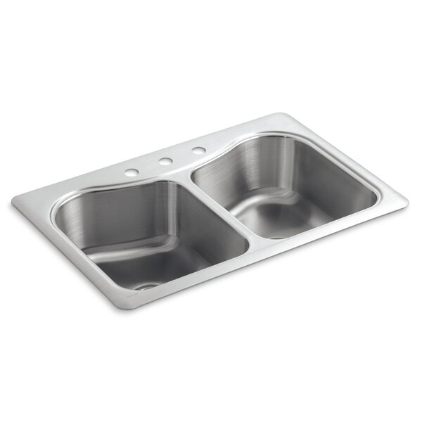 Staccato 33 L x 22 W x 8-5/16 Top-Mount Double-Equal Bowl Kitchen Sink with 3 Faucet Holes by Kohler