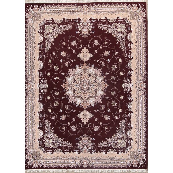 Tores Traditional Tabriz Persian Classical Burgundy/Beige Area Rug by Isabelline