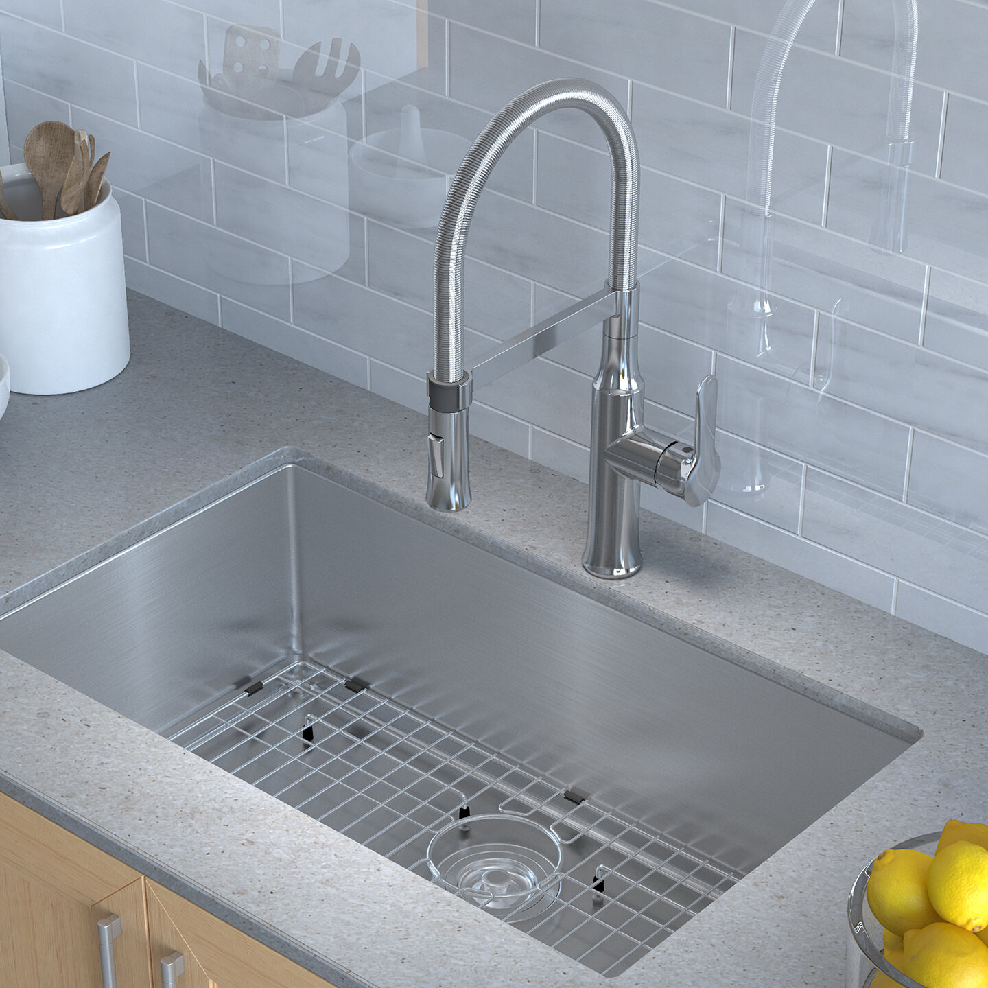 "Handmade Series 30"" x 18"" Undermount Kitchen Sink with Faucet and Soap  Dispenser"