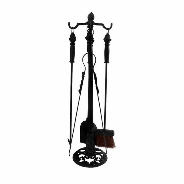 Fancy Flames 4 Piece Cast Iron Fireplace Tool Stand Set by EsschertDesign