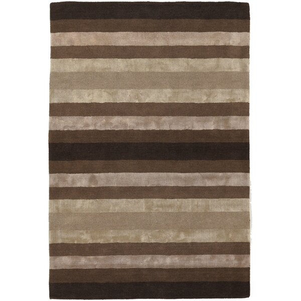 Emlyn Brown/Tan Stripes Area Rug by Everly Quinn