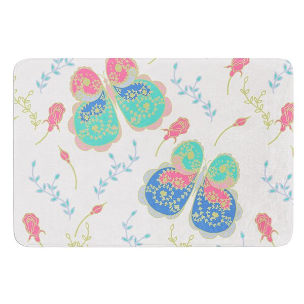 Leafy Butterflies by Anneline Sophia Bath Mat by East Urban Home