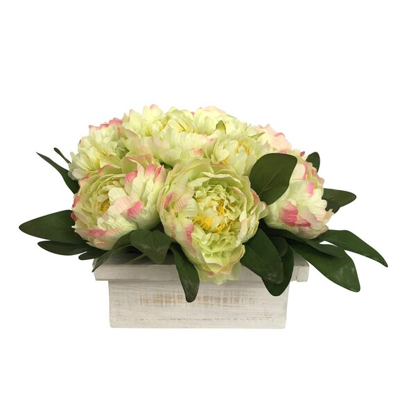 Yellow Peonies Floral Arrangement in Pot by August Grove