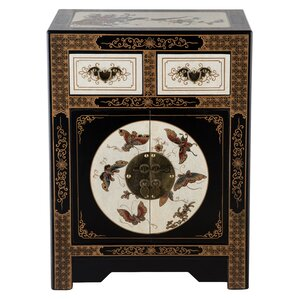 Oriental Antique Style 2 Drawer Nightstand by NES Furniture