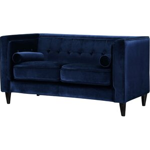 Willa Arlo Interiors Roberta Velvet Chesterfield Loveseat