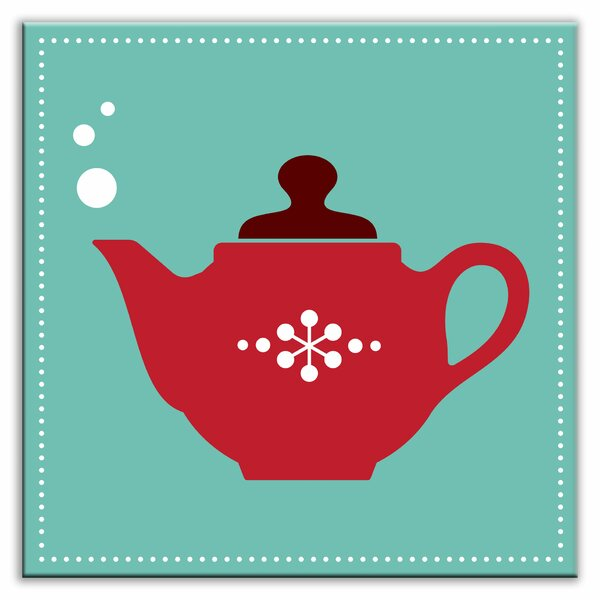 Kitschy Kitchen 4-1/4 x 4-1/4 Glossy Decorative Tile in Spot of Tea Teal-Red by Oscar & Izzy