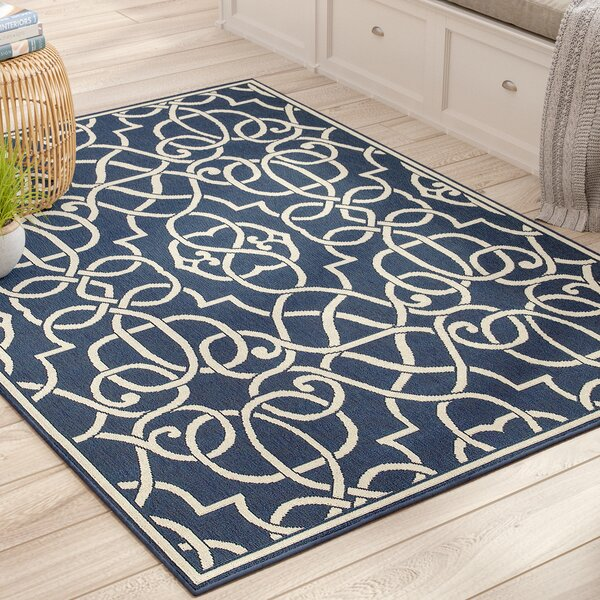 Kailani Navy Indoor/Outdoor Area Rug by Beachcrest Home