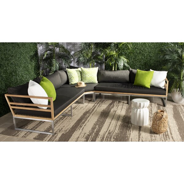 Astin Teak Patio Sectional with Cushions by Brayden Studio
